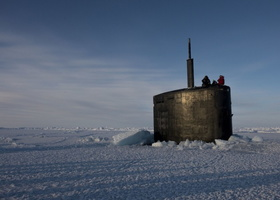 U.S. Navy Attack Sub Emerges from Ice in the Arctic Circle