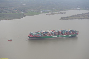 CSCL Indain Ocean grounded in river Elbe.